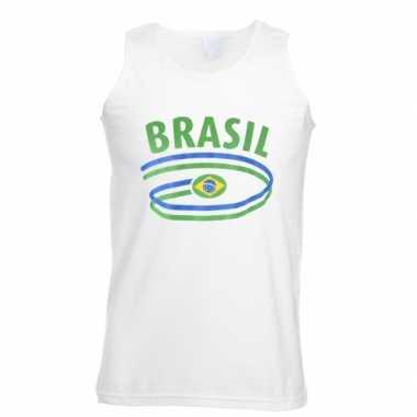 Witte heren t-shirt zonder mouw Brazilie