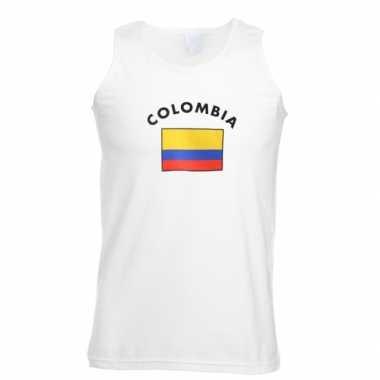 Witte heren t-shirt zonder mouw Colombia