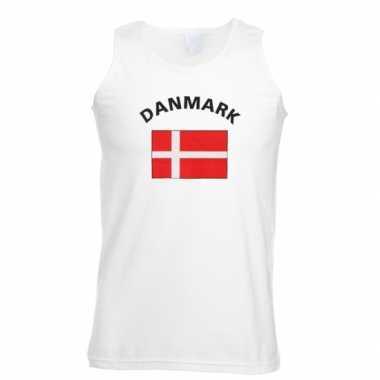 Witte heren t-shirt zonder mouw Denemarken