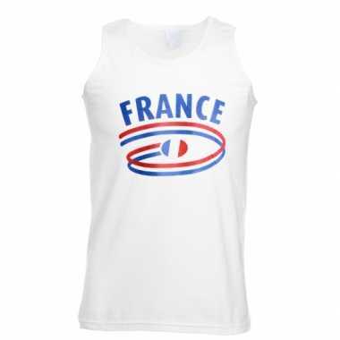 Witte heren t-shirt zonder mouw Frankrijk