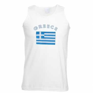 Witte heren t-shirt zonder mouw Griekenland