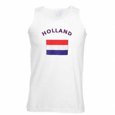 Witte heren t-shirt zonder mouw Holland