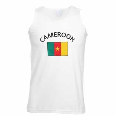 Witte heren t-shirt zonder mouw Kameroen