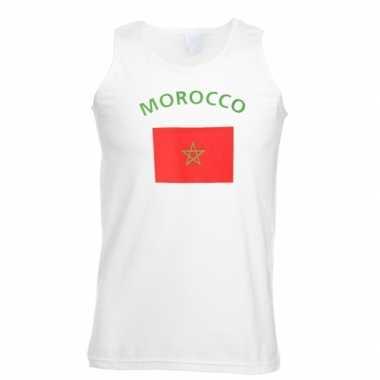 Witte heren t-shirt zonder mouw Marokko