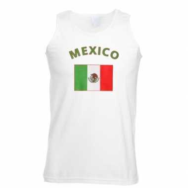 Witte heren t-shirt zonder mouw Mexico