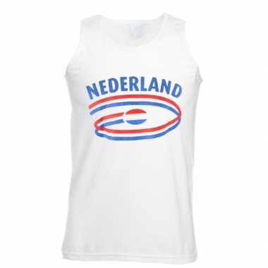 Witte heren t-shirt zonder mouw Nederland