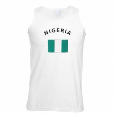 Witte heren t-shirt zonder mouw Nigeria