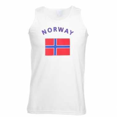 Witte heren t-shirt zonder mouw Noorwegen