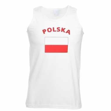 Witte heren t-shirt zonder mouw Polen