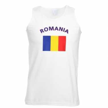 Witte heren t-shirt zonder mouw Roemenie
