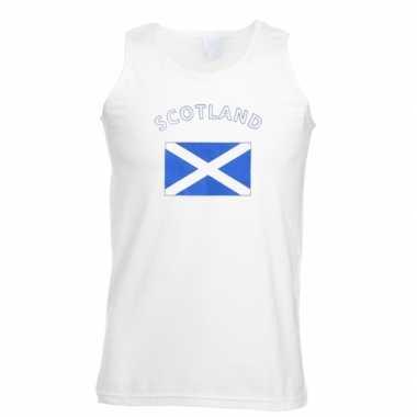 Witte heren t-shirt zonder mouw Schotland