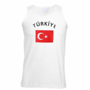 Witte heren t-shirt zonder mouw Turkije