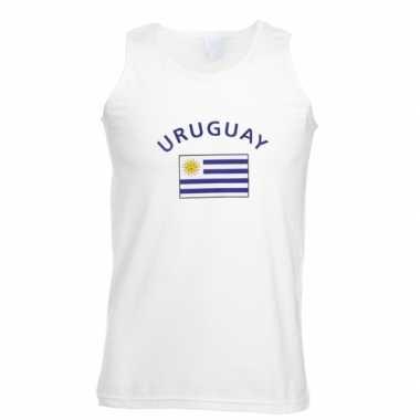 Witte heren t-shirt zonder mouw Uruguay