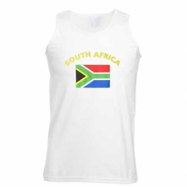 Witte heren t-shirt zonder mouw Zuid Afrika