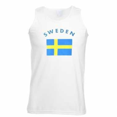 Witte heren t-shirt zonder mouw Zweden