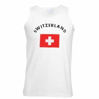 Witte heren t-shirt zonder mouw Zwitserland
