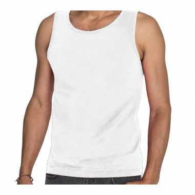 Witte t shirt zonder mouw / hemdje / singlet heren fruit of the loom
