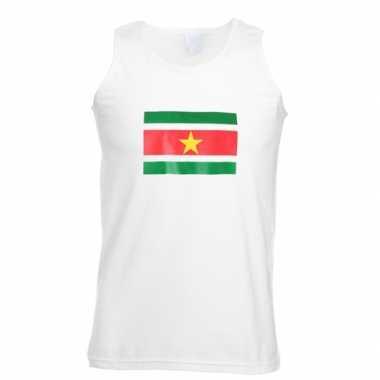 Witte t-shirt zonder mouw Suriname heren