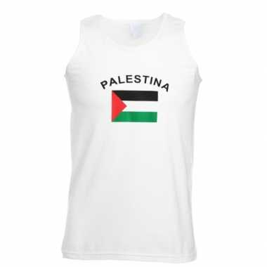 Witte t-shirt zonder mouw vlag Palestina