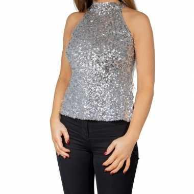 Zilveren glitter pailletten disco halter topje/ shirt dames zonder mo
