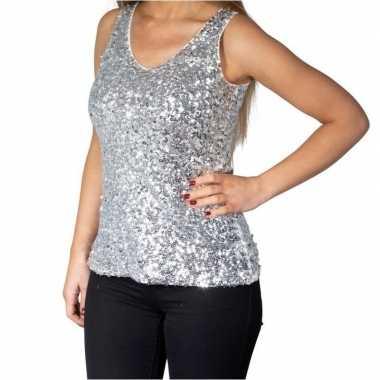 Zilveren glitter pailletten disco topje/ mouwloos shirt dames zonder