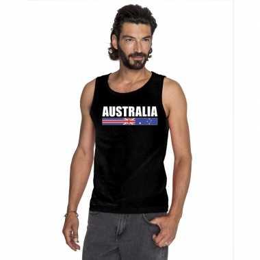 Zwart australie supporter singlet shirt/ t shirt zonder mouw heren