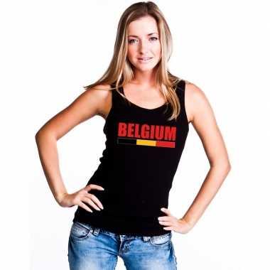 Zwart belgium supporter singlet shirt/ t shirt zonder mouw dames