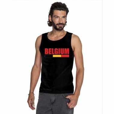 Zwart belgium supporter singlet shirt/ t shirt zonder mouw heren