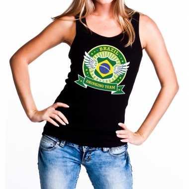Zwart brazil drinking team t shirt zonder mouw / mouwloos shirt dames