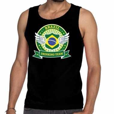 Zwart brazil drinking team t shirt zonder mouw / mouwloos shirt heren