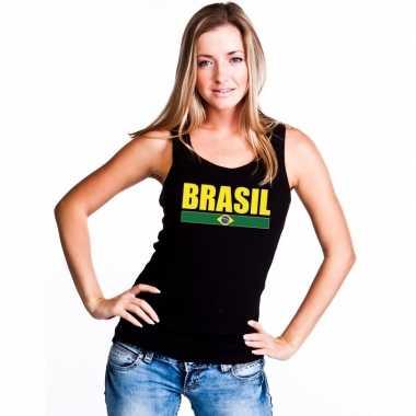 Zwart brazilie supporter singlet shirt/ t shirt zonder mouw dames