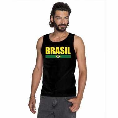Zwart brazilie supporter singlet shirt/ t shirt zonder mouw heren