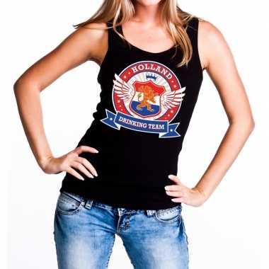 Zwart holland drinking team t shirt zonder mouw / mouwloos shirt dame