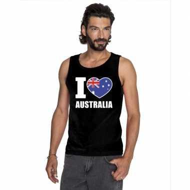 Zwart i love australie fan singlet shirt/ t shirt zonder mouw heren