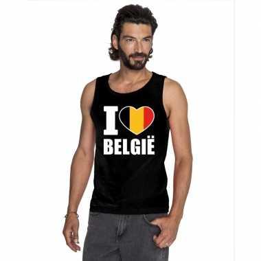 Zwart i love belgie fan singlet shirt/ t shirt zonder mouw heren