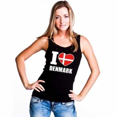 Zwart i love denemarken fan singlet shirt/ t shirt zonder mouw dames