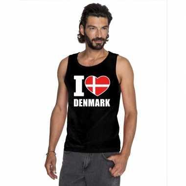 Zwart i love denemarken fan singlet shirt/ t shirt zonder mouw heren