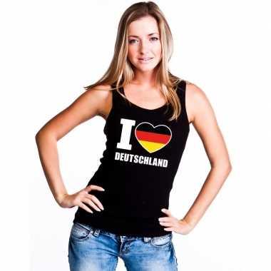 Zwart i love duitsland fan singlet shirt/ t shirt zonder mouw dames