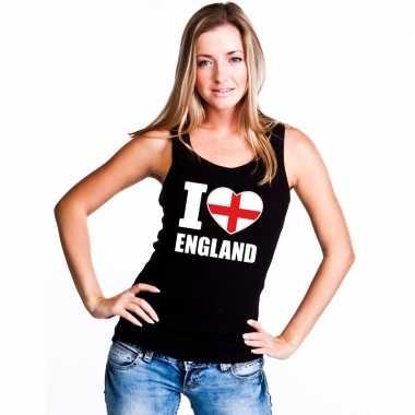 Zwart i love engeland fan singlet shirt/ t shirt zonder mouw dames