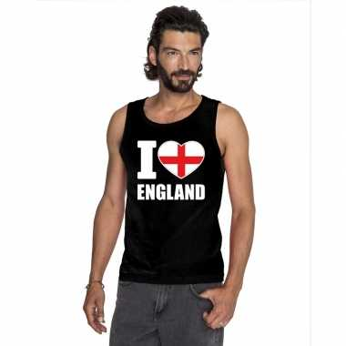 Zwart i love engeland fan singlet shirt/ t shirt zonder mouw heren