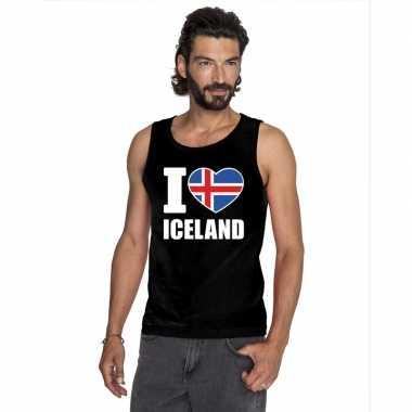 Zwart i love ijsland fan singlet shirt/ t shirt zonder mouw heren