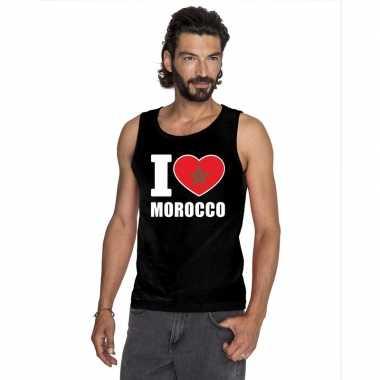 Zwart i love marokko fan singlet shirt/ t shirt zonder mouw heren