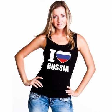 Zwart i love rusland fan singlet shirt/ t shirt zonder mouw dames