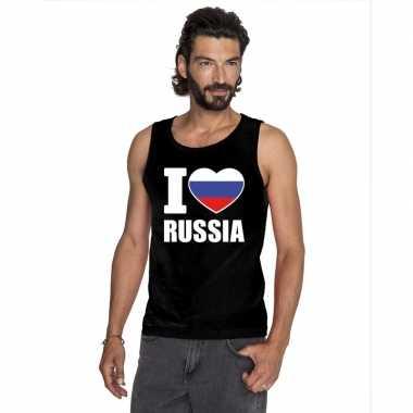 Zwart i love rusland fan singlet shirt/ t shirt zonder mouw heren