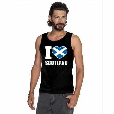 Zwart i love schotland fan singlet shirt/ t shirt zonder mouw heren