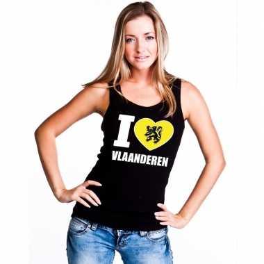 Zwart i love vlaanderen t shirt zonder mouw dames