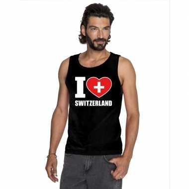 Zwart i love zwitserland fan singlet shirt/ t shirt zonder mouw heren