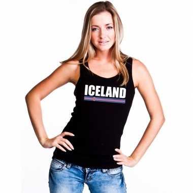 Zwart ijsland supporter singlet shirt/ t shirt zonder mouw dames