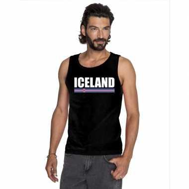 Zwart ijsland supporter singlet shirt/ t shirt zonder mouw heren
