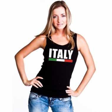 Zwart italie supporter singlet shirt/ t shirt zonder mouw dames